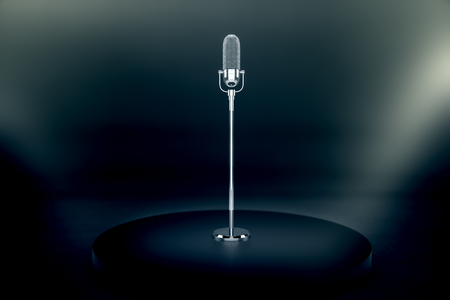 Silver microphone stand on dark stage with limelight. 3D Rendering Stock Photo