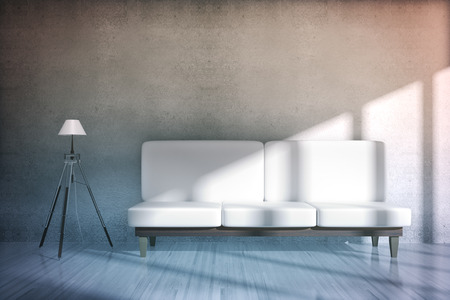 white sofa: Concrete room interior with white sofa and floor lamp. 3D Rendering