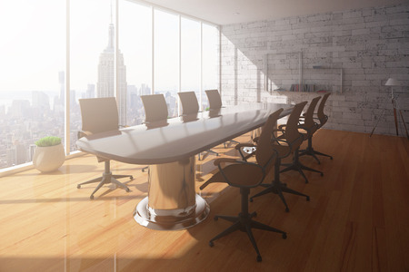 Conference room interior with wooden floor, brick wall and New York city view. 3D Rendering