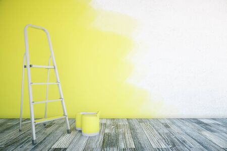 unfinished: Room interior with unfinished yellow wall, paint buckets, ladder and wooden floor. Mock up, 3D Rendering Stock Photo