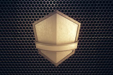 golden shield: Blank golden shield on patterned background. Mock up, 3D Rendering