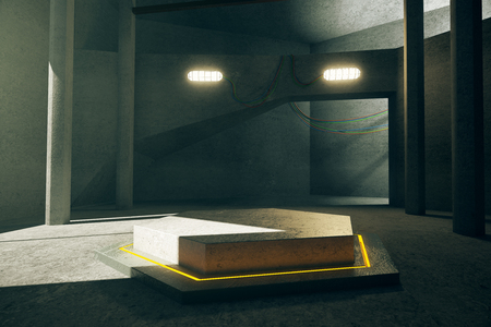 architecture design: Abstract concrete interior with illuminated yellow hexagonal projection in the middle. 3D Rendering