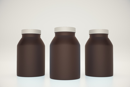 light brown background: Three empty brown bottles on light background. Mock up, 3D Rendering Stock Photo