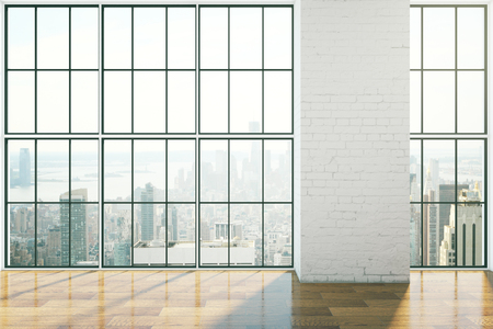 Empty interior design with framed windows, wooden floor and blank brick wall. Mock up, 3D Rendering 스톡 콘텐츠