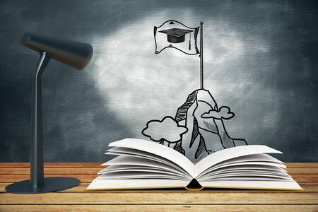 illuminating: Lamp illuminating sketch education concept on chalkboard. 3D Rendering