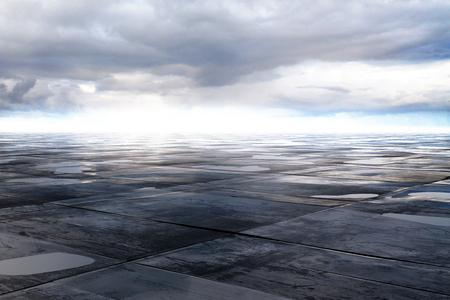 濡れたコンクリート床と 3 D の空の雲のレンダリング