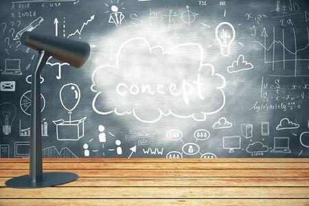 illuminating: Lamp illuminating business concept sketch on chalkboard. 3D Rendering Stock Photo