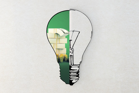 idea sketch: Idea and financial growth concepts with lightbulb sketch and dollar bills and coins