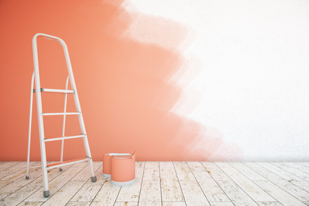 unfinished: Room interior with unfinished red wall, paint buckets, ladder and wooden floor. Mock up, 3D Rendering Stock Photo