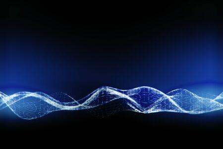 illuminated: Illuminated digital wave on dark blue  background Stock Photo
