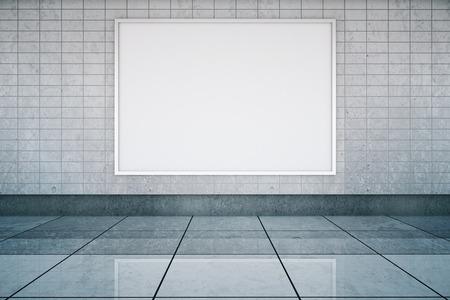bandera enmarcada en la estación de metro entre la pared y el piso de baldosas. Maqueta, 3D