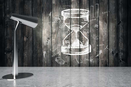 illuminating: Lamp illuminating sketch hourglass on wooden wall. 3D Rendering