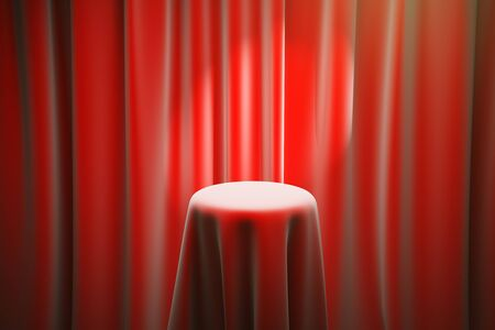 limelight: Red magicians table with limelight and curtains in the background. Mock up, 3D Rendering