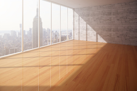 office window view: Empty interior with wooden floor, brick wall and New York city view. 3D Rendering