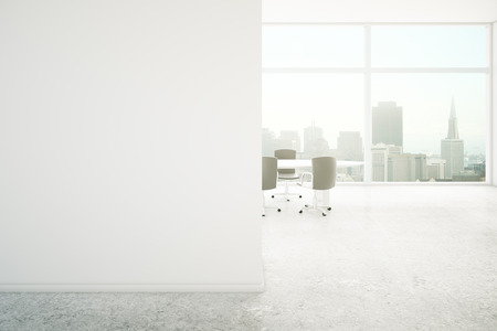 boardroom: Conference room interior with blank concrete wall and city view. Mock up, 3D Rendering