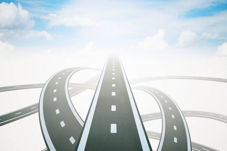Different directions to success with three highway roads leading to bright sky. 3D Rendering