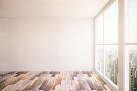 front view: Room interior with blank concrete wall, wooden floor and windows with New York city view. Mock up, 3D Rendering