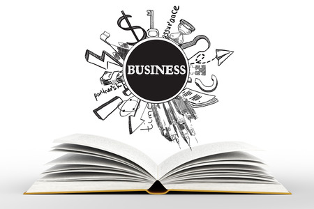 book concept: Idea concept with open book and business sketches on light white background