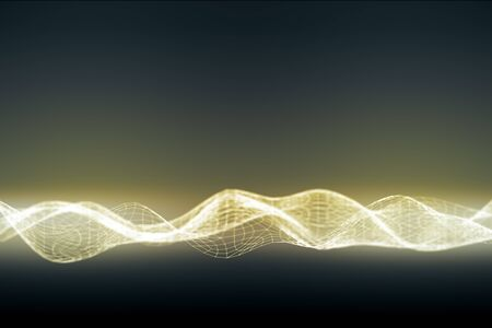 Illuminated digital wave on dark background, Stock Photo