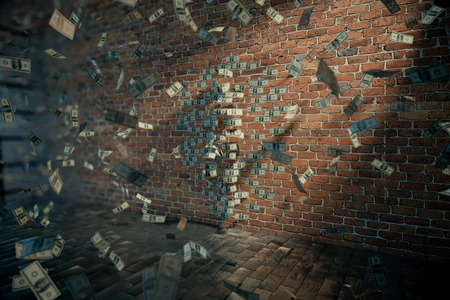 standing on one leg: Dollar female silhouette with one leg raised against brick wall and banknotes flying around. 3D Rendering
