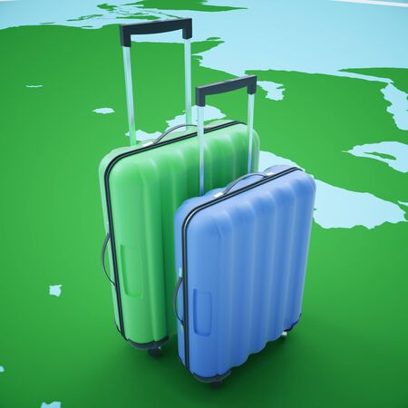 handles: Traveling concept with two suitcases on abstract map background. 3D Rendering