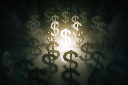 Illuminated dollar signs on abstract sufrace Stock Photo