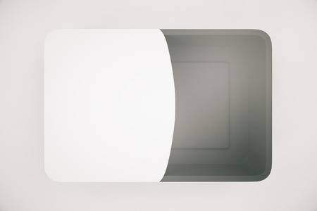partially: Dark food container partially covered with blank label on light background. Mock up, 3D Rendering