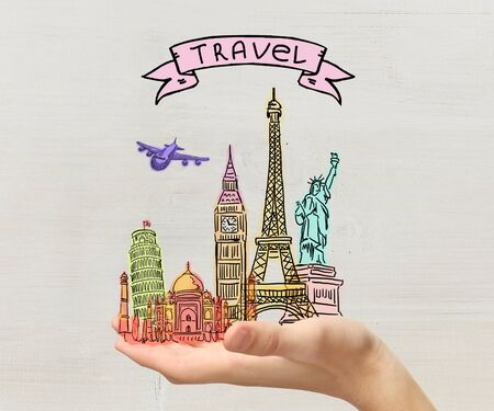draw: Mans hand holding landmarks on a gray background