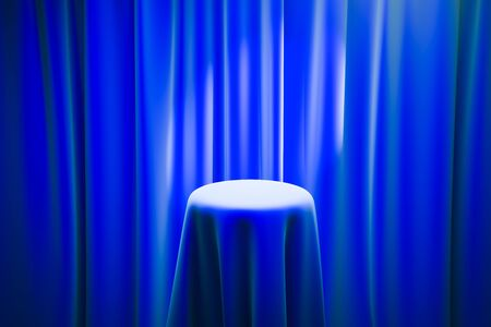 limelight: Blue magicians table with limelight and curtains in the background. Mock up, 3D Rendering