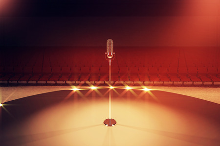 limelight: Microphone stand on stage with empty seats and limelight. 3D Rendering