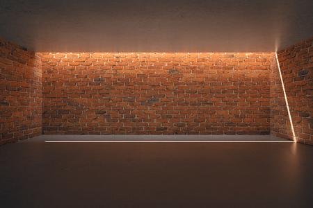 loft interior: Illuminated empty red brick wall in empty room interior. Mock up, 3D Rendering
