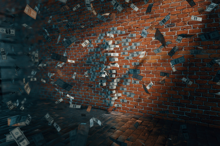 standing on one leg: Dollar woman silhouette with one leg raised against brick wall and banknotes flying around. 3D Rendering
