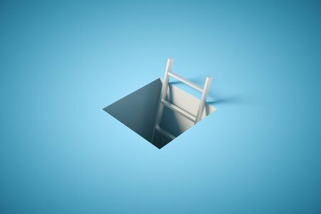 holes: Success concept with ladder tip coming out of pit on blue surface. 3D Rendering