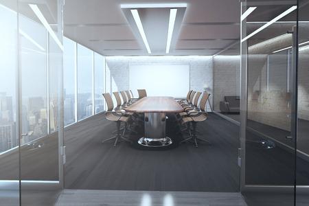 Abra a porta de vidro, revelando o interior moderno da sala de reuniões com candeeiros de tecto, quadro em branco na parede de tijolos, piso de madeira e janela panorâmica com vista para a cidade. Renderização em 3D Foto de archivo