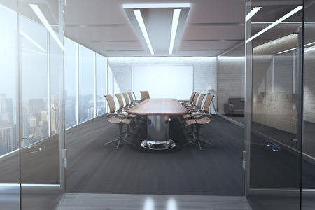 office window view: Open glass door revealing modern meeting room interior with ceiling lamps, blank whiteboard on brick wall, wooden floor and panoramic window with city view. 3D Rendering Stock Photo