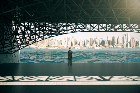 gaze: Thoughtful businessman standing under bridge and looking at river on city background. 3D Rendering Stock Photo