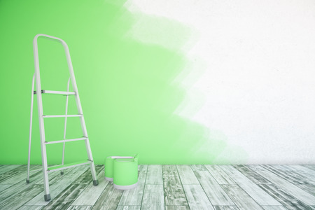 ladder: Room interior with unfinished green wall, paint buckets, ladder and wooden floor. Mock up, 3D Rendering