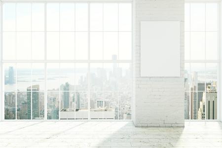 Lege witte interieur met kozijnen, houten vloer en lege poster op bakstenen muur. Mock-up, 3D-rendering Stockfoto