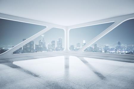 Zijaanzicht van het interieur met betonnen vloer, plafond en creatieve raam met uitzicht op de stad 's nachts. 3D Rendering Stockfoto