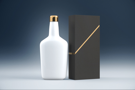 cognac: White cognac bottle and packaging without lables. Mock up, 3D Rendering