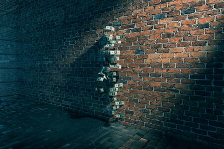 one female: Dollar banknote female silhouette with one leg raised against brick wall. 3D Rendering