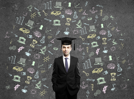 alumni: Graduation concept with education related sketches around businessman in cap on dark concrete wall background