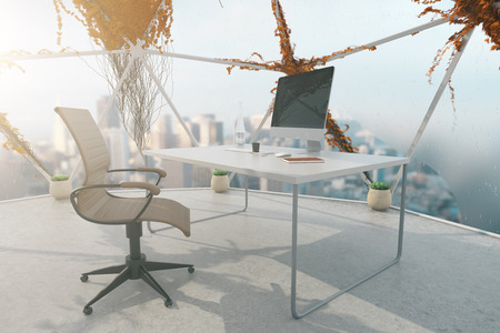 penthouse: Creative office interior with plants growning on panoramic windows, concrete floor and workplace with computer monitor and stationery items. 3D Rendering