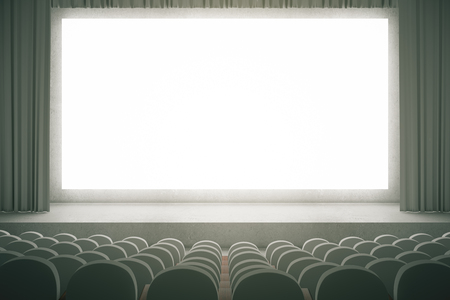curtain up: Movie theater with rows of grey seats and large blank screen with curtains. Mock up, 3D Rendering