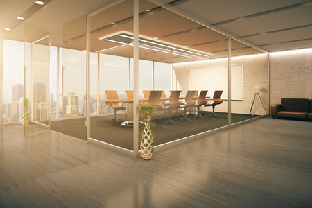 glass ceiling: Modern conference room interior behind glass doors with decorative vases, wooden floor, couch and city view. 3D Rendering
