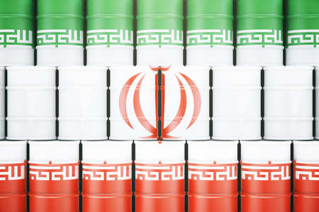 iranian: Stacked oil barrels with Iranian flag on them. 3D Rendering