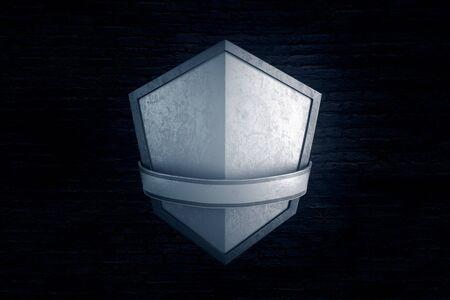 Blank silver shield on black brick background. Mock up, 3D Rendering
