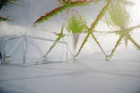 plants growing: Empty penthouse interior with plants growing on panoramic window and ceiling, concrete floor and ladder railing. 3D Rendering