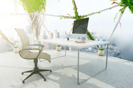 penthouse: Loft office interior with plants growning on panoramic windows, concrete floor and workplace with computer monitor and stationery items. 3D Rendering