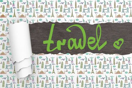 patterned wallpaper: Travel concept with ripped patterned wallpaper and writing on dark wooden surface Stock Photo